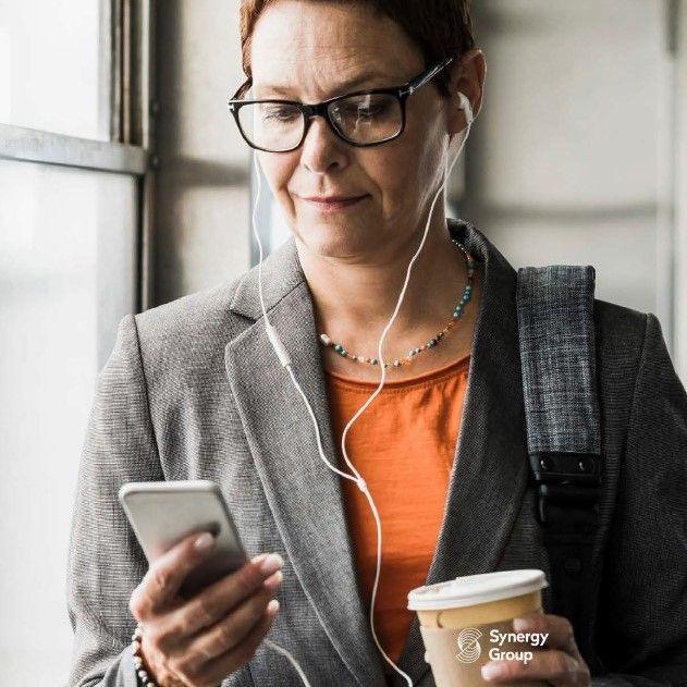 Woman on phone with headphones
